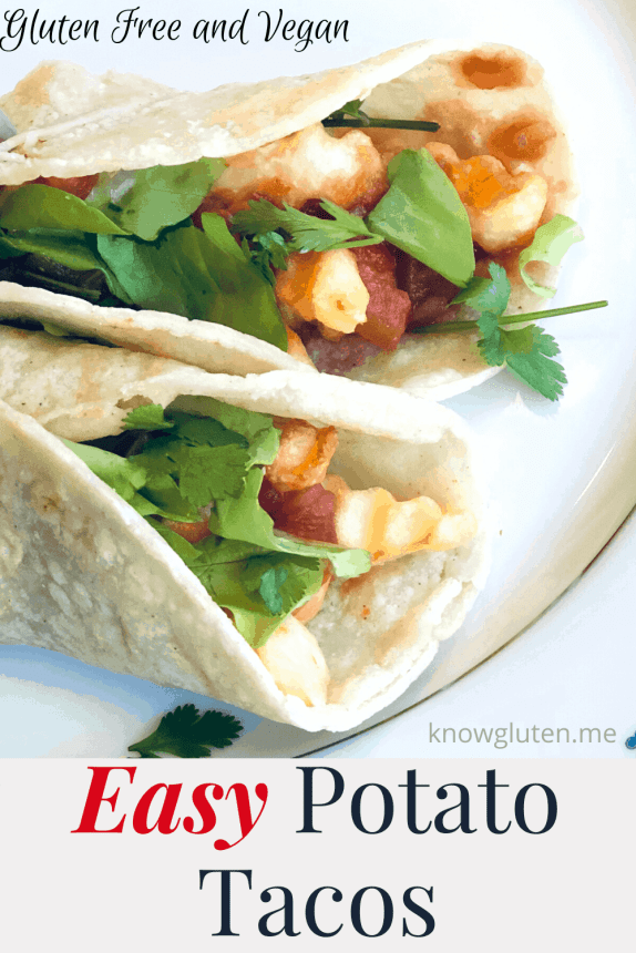 Closeup of potato tacos with crinkle fries and cilantro.