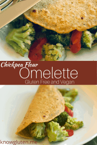 two views of a gluten free vegan omelette