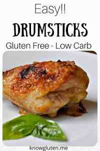 A Pinterest pin of a gluten free chicken drumstick.