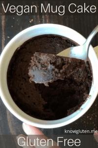 A spoonful of a chocolate vegan mug cake.