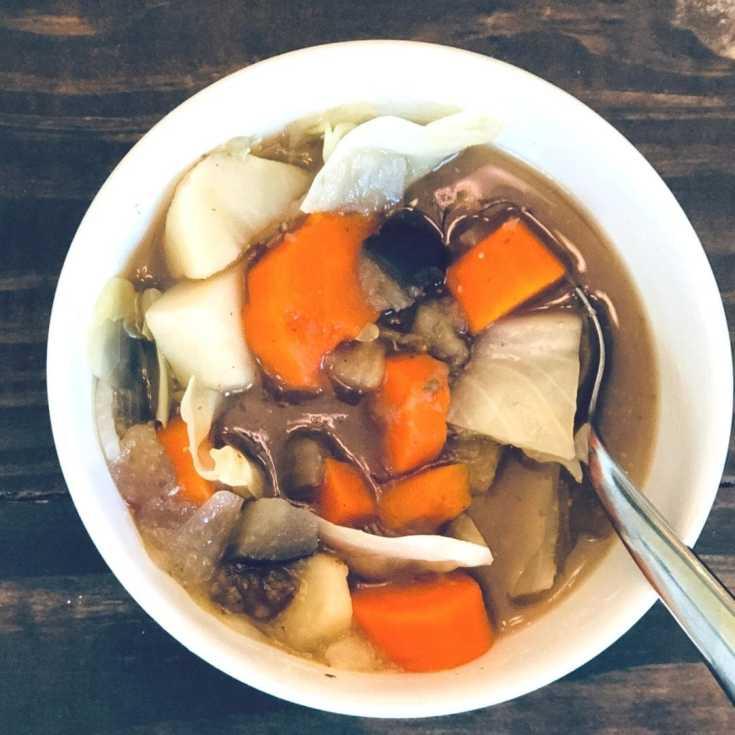 an overhead shot of a bowl of vegan Irish stew