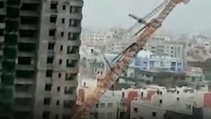 Fani topples a crane