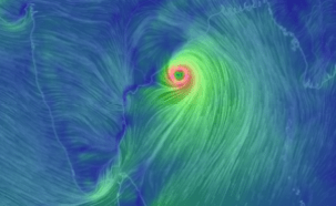 Simulated depiction of cyclonic winds, Fani