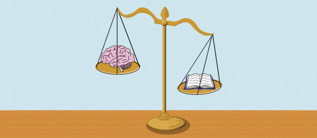 Neurolaw feature image, depicting libra scales with a brain on the left scale and a book on the right scale.