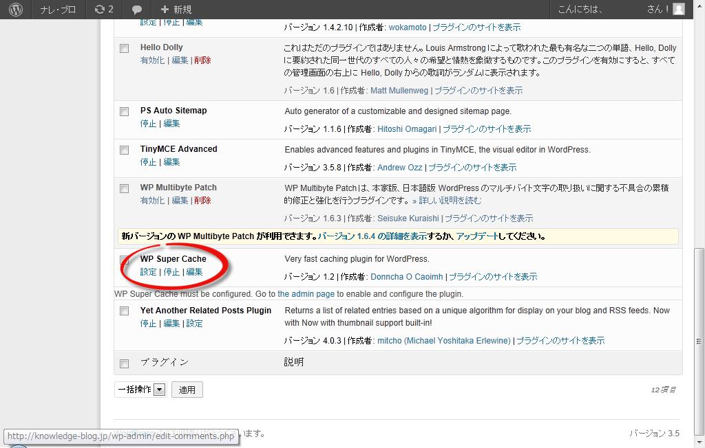 プラグイン「WP Super Cache」の追加3