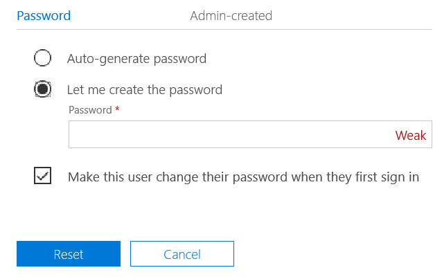 Figure 6 - Reset Password option for other users than self