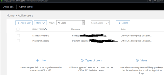 figure 3- Admin Center - Active Users