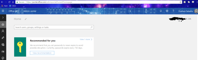 fig 1 Office 365 admin site center site