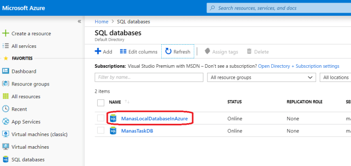 Azure - After Imported The Local DB