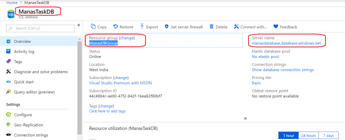 Get Azure SQL Database Serve Name