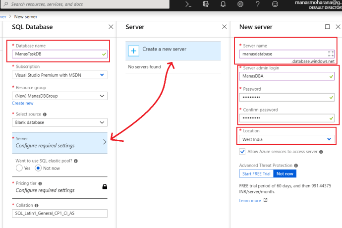 Azure - Configure Azure Database Server