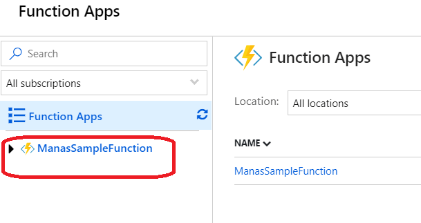 Azure – List of existing Azure function apps