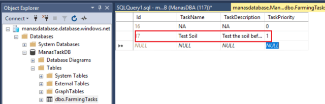Azure - Data table after run the table with correct value