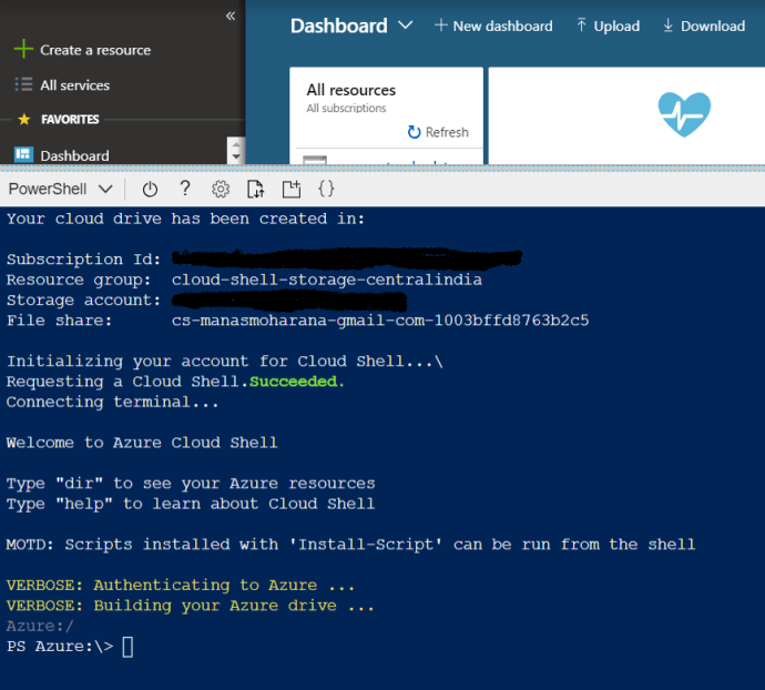 Lunching Azure Cloud Shell