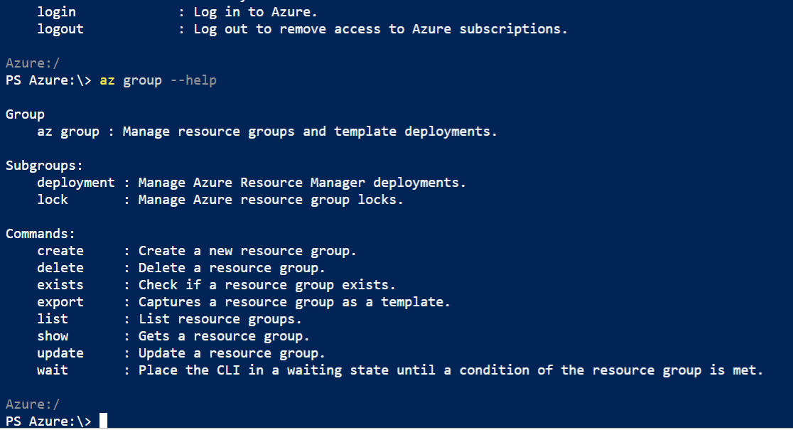 List of Azure Group Commands