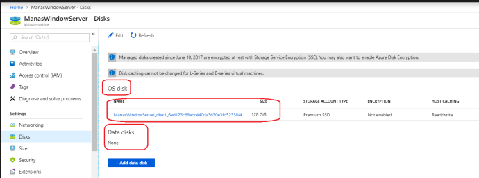 Azure VM disks space