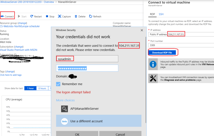 Azure -RDP connection to VM