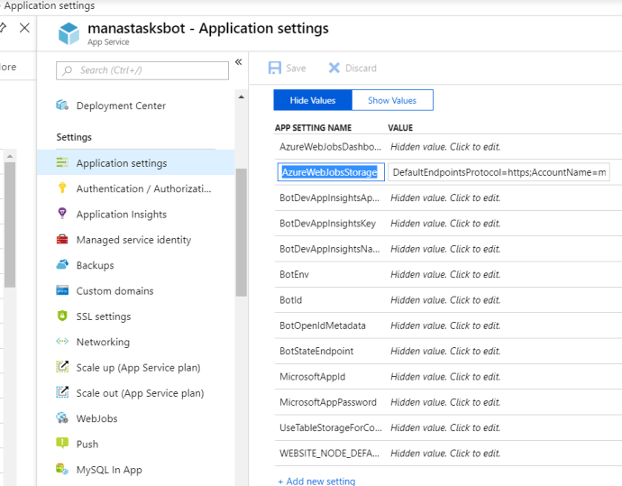 Azure – Application Settings of Azure Bot Service