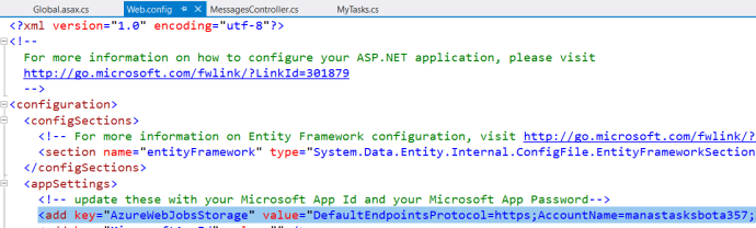 Figure 7: Azure – Application Settings value used in VS