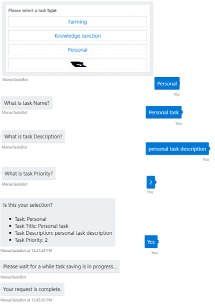 Figure 10: Azure – Testing of Azure Bot on portal.