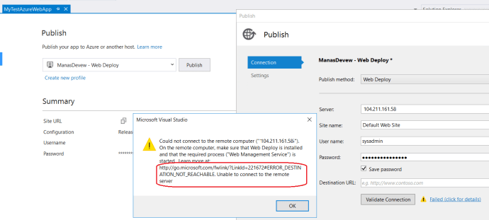 Issue with Validate onnection