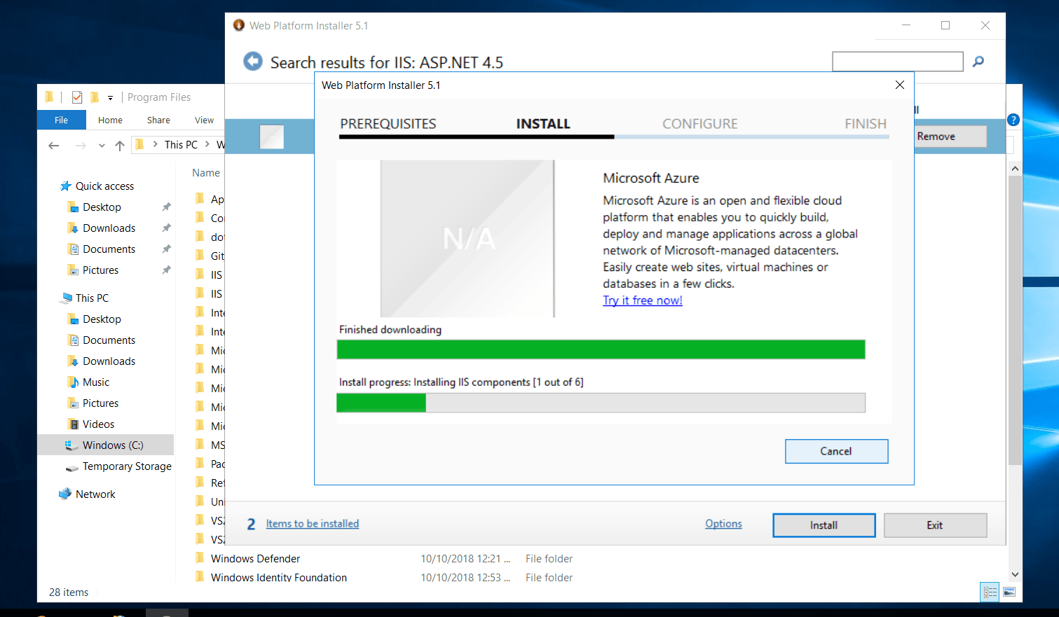 Installing Required features