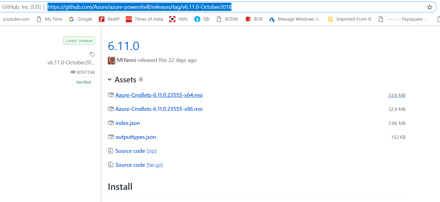 Download MSI File For Azure PoserShell