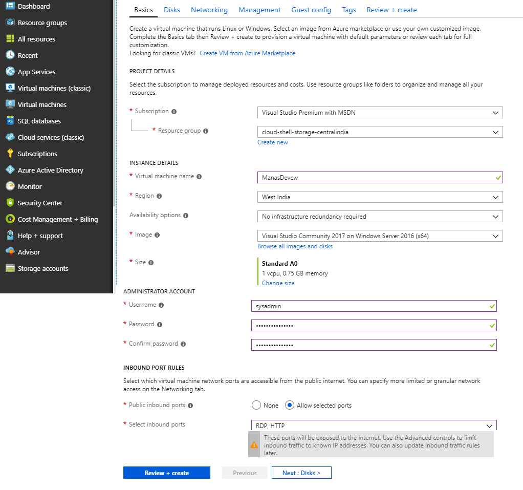 Provide required Information
