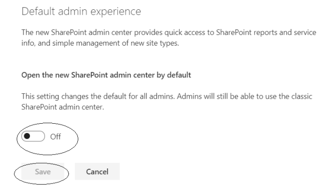 fig4_New SharePoint Admin Center Settings - Default admin experience option