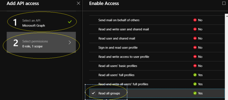 "Office 365 - Microsoft Graph – Select an API - ""Microsoft Graph"" to give permission for reading all groups"