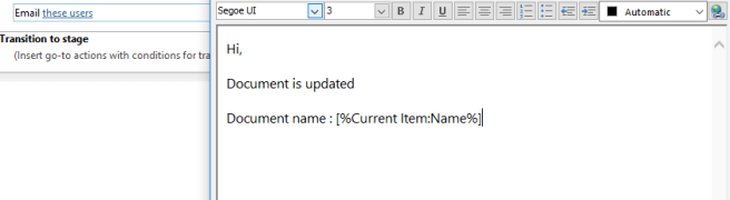 Office 365 - SharePoint Online - SharePoint Designer 2013 - Workflow - Email body - Add lookup