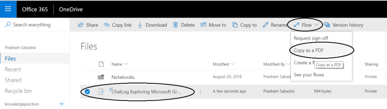 """Office 365 - OneDrive for Business - Running flow """"Copy as a PDF"""""""