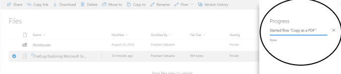"Office 365 - OneDrive for Business - ""Progress Pane"" for flow"