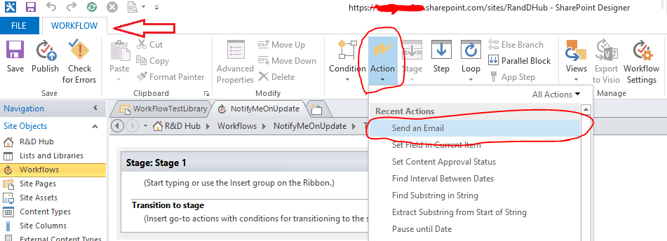 Office 365 - SharePoint Online - Workflow - add action