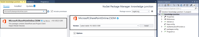 Office 365 – SharePoint Online / Project Online : New version of CSOM package