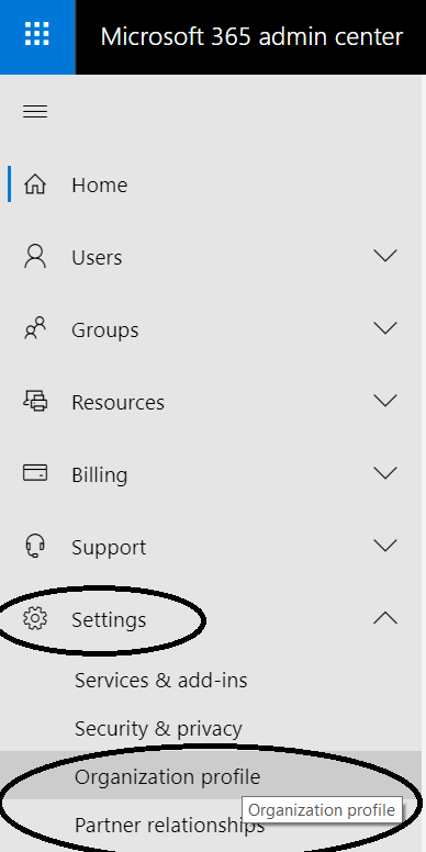 Microsoft 365 - Admin center - Settings  data-recalc-dims=