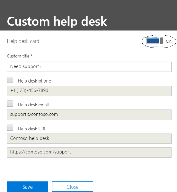 Microsoft 365 - Admin center - Organization profile - Creating custom helpdesk card