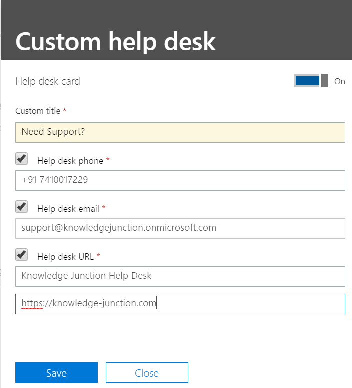 Microsoft 365 - Admin center - Organization profile - Custom helpdesk card