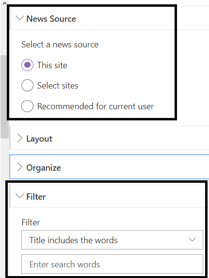 "Office 365 - SharePoint Online - OOB News WP - ""Filter"" option only available when ""News Source"" is ""This site"""