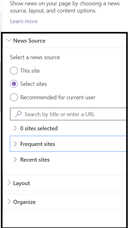 """Office 365 - SharePoint Online - OOB News WP - """"Filter"""" option is not available when """"News Source"""" is not """"This site"""""""