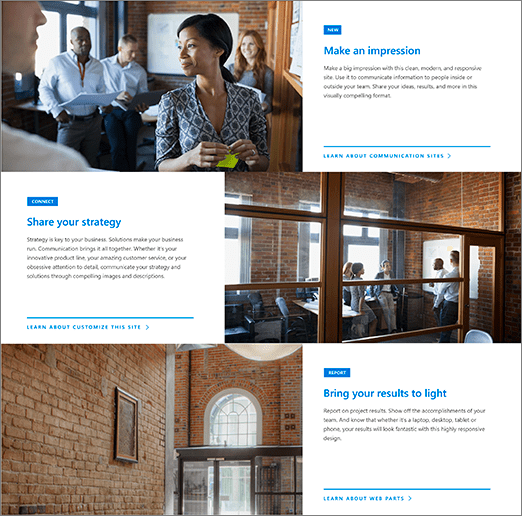 Figure 4 -Office 365 - SharePoint Online - Hero WP from Showcase site design – Vertical layout with three layers