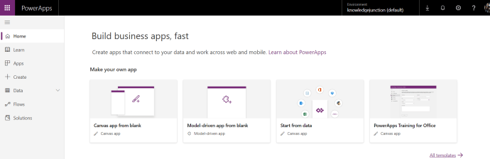 Microsoft 365 - PowerApps - creating Apps using PowerApps from browser
