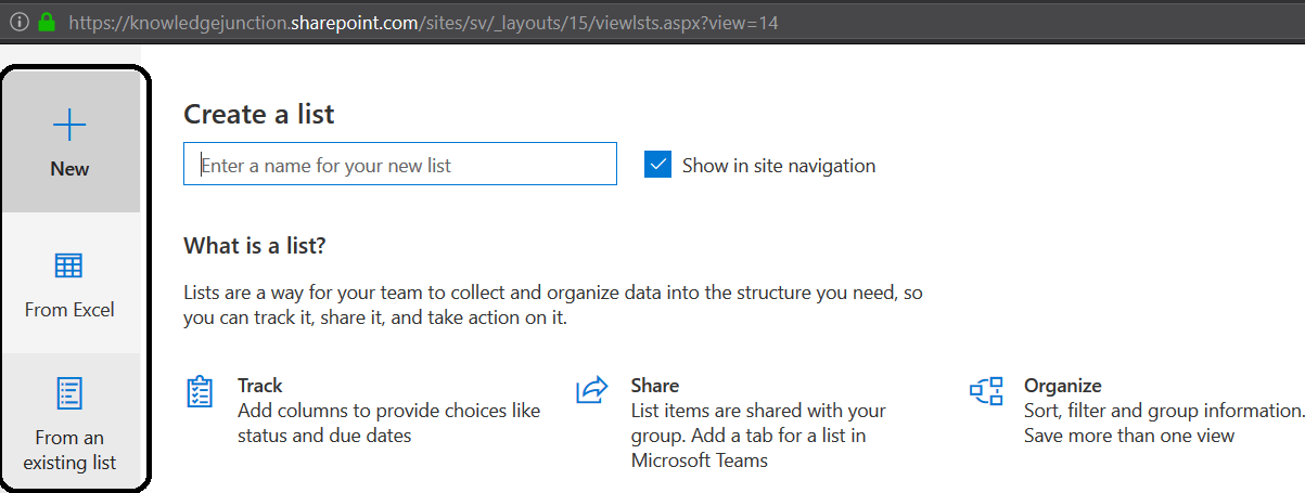 M365 >> SharePoint Online >> New options while creating list from site content page