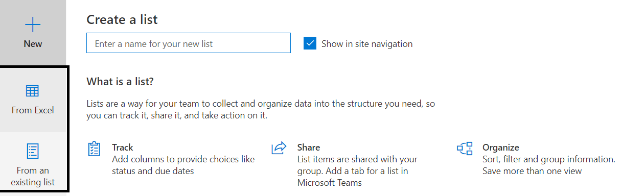 Figure 2: M365 >> SharePoint Online >> New options while creating list