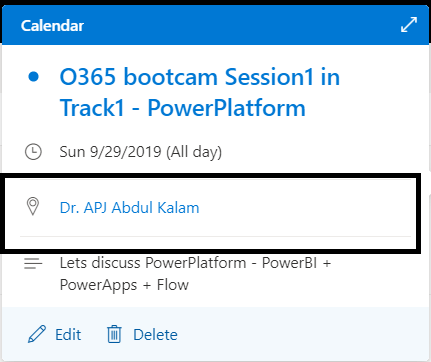 """M365 - Microsoft Graph - Event created in Outlook calendar with room name  """"Dr. APJ Abdul Kalam"""""""