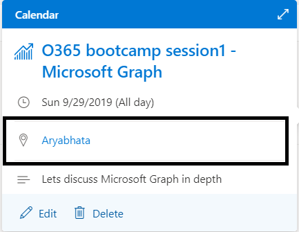 """M365 - Microsoft Graph - Event created in Outlook calendar with room name  """"Aryabhata"""""""