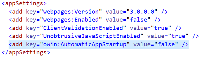 Asp.Net MVC - web.config file change for disableing the automatic startup of OWIN