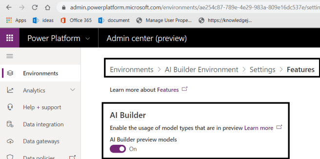 Power Platform - Environment Settings - Product >> Features >> AI Builder