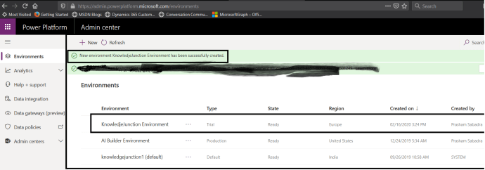 Power Platform - Admin center - New Environment created successfully :)