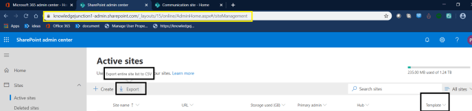 Fig3: M365 - SharePoint Online - Exporting Active Sites